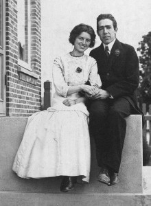 Niels Bohr at 25, with his wife Margrethe, on the occasion of their engagment.
