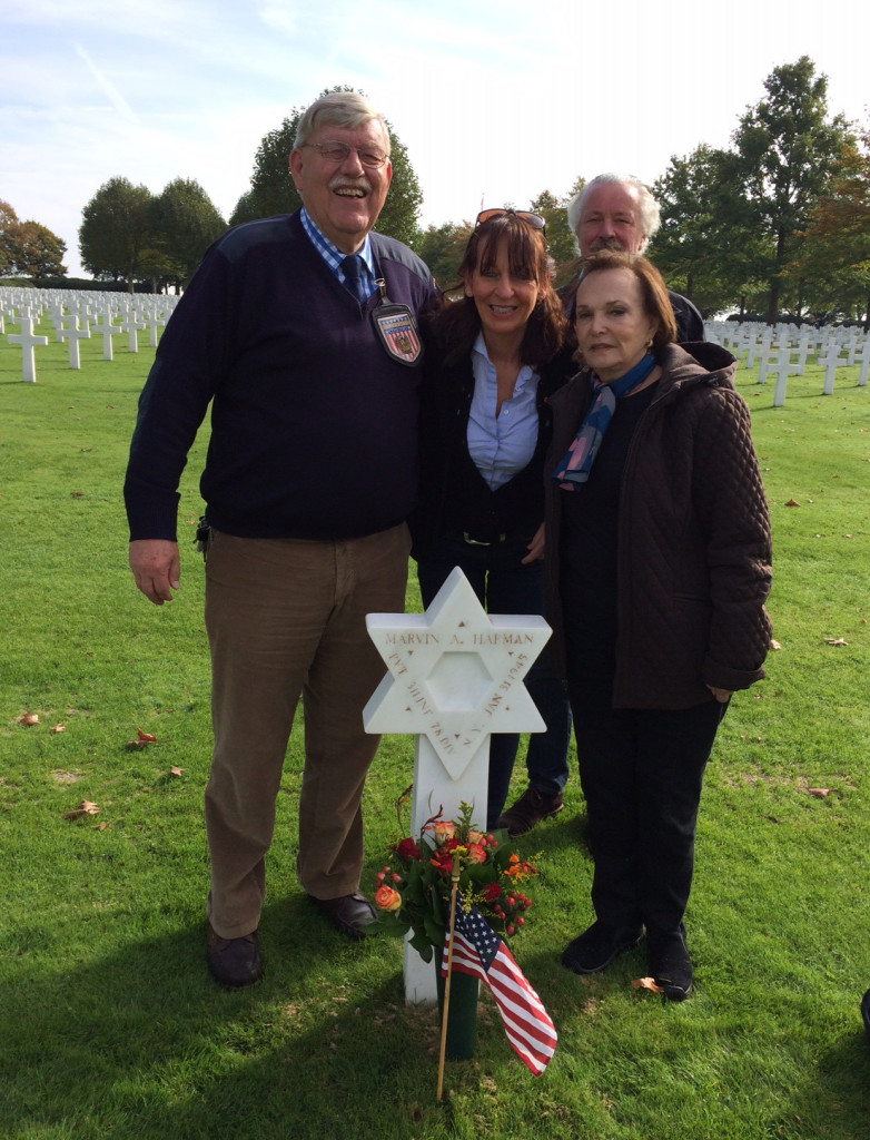 (From left to right), Margraten Cemetery staff member Cecil Buis, Marjo Habets, Winny Habets, and Ann Lehman Brownstein at The Netherlands American Cemetery at Margraten in 2014. Photo courtesy of Ann Lehman Brownstein.