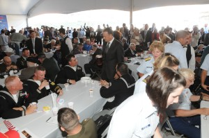 Hanks serving food to the troops at The National WWII Museum's Solomon Victory Theater open 2009.