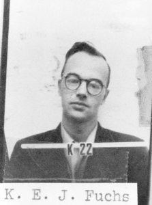 Klaus Fuchs looking wistful in his Manhattan Project ID photo