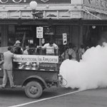 In Austin TX a truck sprays DDT to eliminate insects, which were incorrectly blamed for the spread of Polio