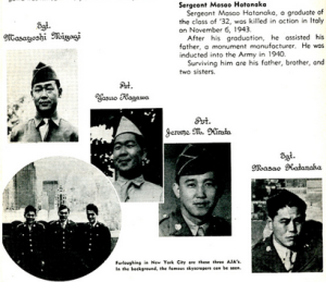 Excerpt from the McKinley High School yearbook remembering former students who were killed in combat. From the Collections of the National WWII Museum. See You Next Year! High School Yearbooks from WWII.