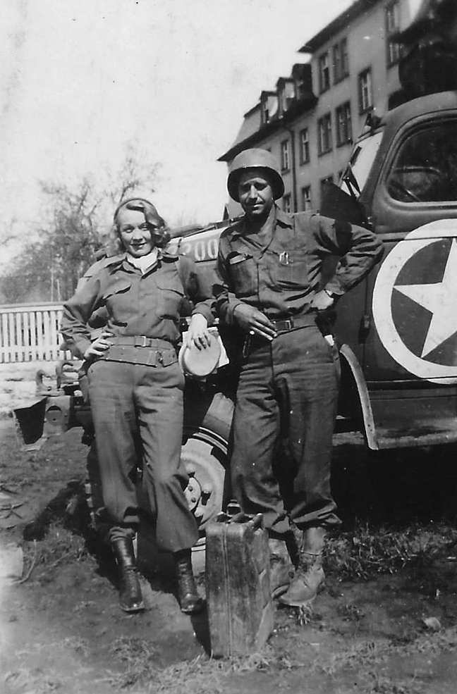 Marlene Dietrich and Marvin Ryman in Europe in March 1944. Photograph courtesy of Bill Ryman.