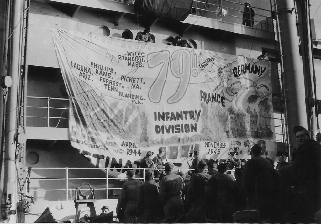 """Boarding ship U.S.S City College New York to leave Marseilles, France for home."" Photograph courtesy of Bill Ryman."