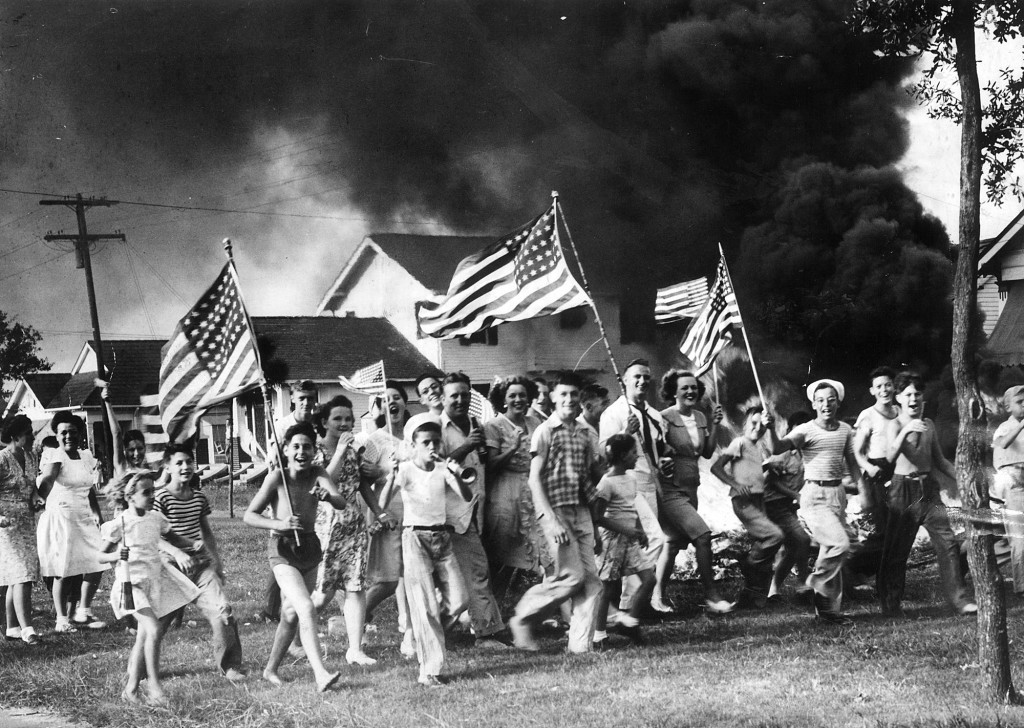"""New Orleanians celebrate V-J Day and the end of World War II"" Photo by Oscar J. Valeton Courtesy of the Times-Picayune"