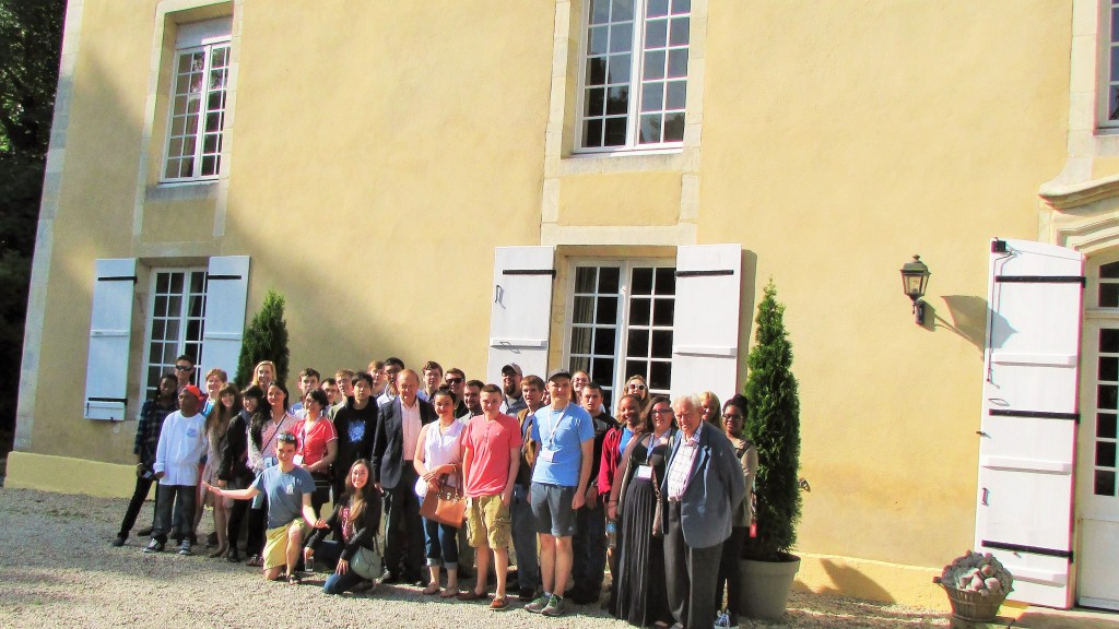 Normandy Academy students with Mr. Dan Ombredanne at Chateau Periers.