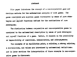 The beginning of John Nash's dissertation.