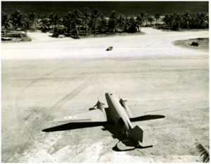 A Douglas R4D bomber on the airfield at Majuro Island, a tiny atoll near Kwajalein in the Marshalls in May 1944.