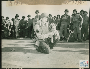 US Serviceman with Pet Dog in San Luis Obispo, California. 1944.