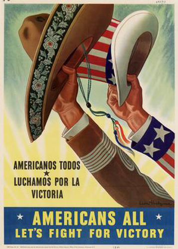 Propaganda Poster Encouraging Latino-Americans to Help Out with the War Effort.