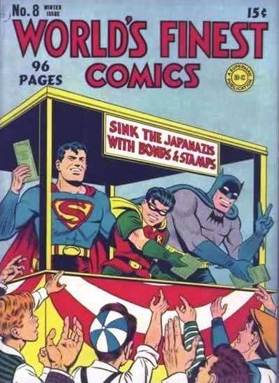 Superman, Batman, and Robin are Selling War Bonds to Children in this 1942 World's Finest Comics Cover.