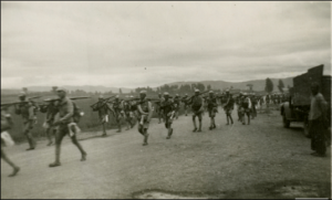Chinese infantry division soldiers marching in China in July 1945