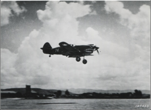 A P-40 in flight in 1942