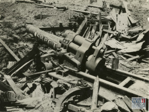 "12"" Japanese artillery piece captured by the 158th RCT at Cuenca, Batangas in the Philippines in 1945"