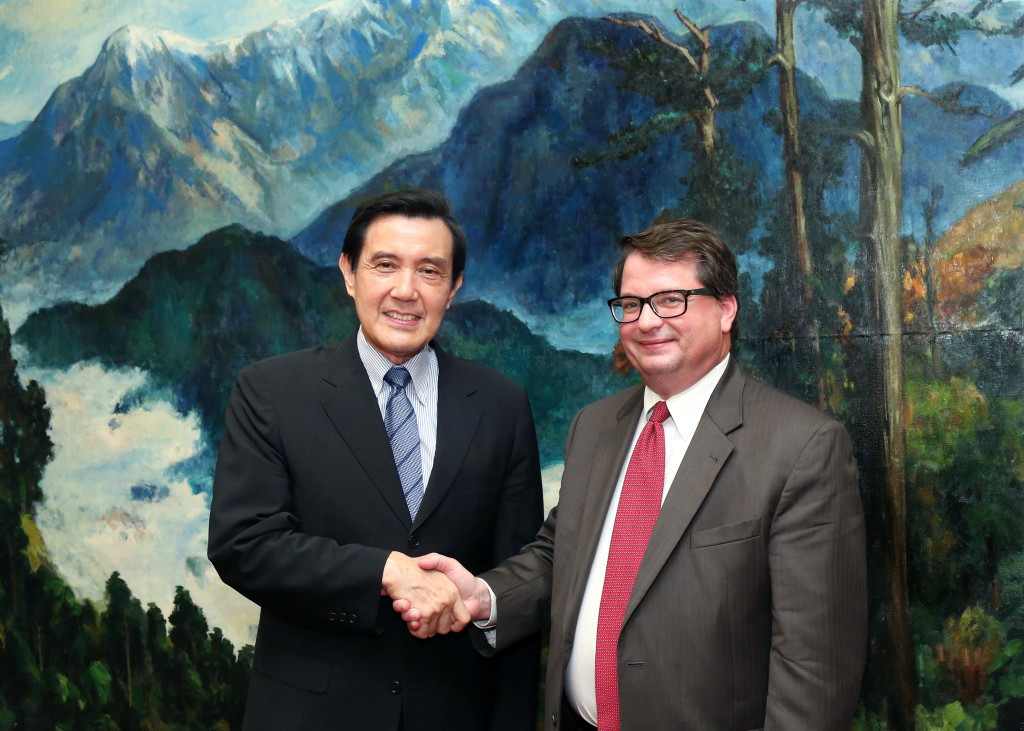 The National WWII Museum's Dr. Keith Huxen, Samuel Zemurray Stone Senior Director of Research and History, with President Ma Ying-jeou of the Republic of China.