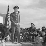 Kuroki speaking at Heart Mountain War Relocation Center , April 24, 1944. Courtesy National Archives