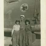 "Latina veteran Eva Romero Jacques pictured with a woman identified as her ""army twin"" and an unidentified man. Eva Romero Jacques Collection (AFC/2001/001/18443), Veterans History Project, American Folklife Center, Library of Congress."