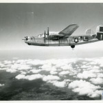 A B-24 Liberator, with 4 Twin Wasp engines flies on a mission. The NWWII Museum has a B-24 fuselage and an isolated Twin Wasp Engine on exhibit in the U.S. Freedom Pavilion: Boeing Center.
