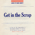 KTo get all of the country's schools on board with scrapping, the government released this pamphlet- Get in the Scrap! It took a lot of planning and preparation to start a salvage program at schools and this guide helped teachers, school administrators, and students along the way.