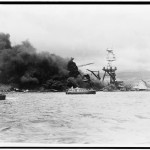 The USS Arizona in flames, December 7, 1941. Library of Congress,  LC-USZ62-104778.