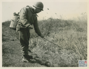 A US Soldier in Italy early in the war, spraying oil from a hand-pumped canister into a ditch to kill mosquitoes (from the collection of the NWWII Museum).