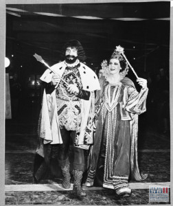 King and Queen in full costume, presumably welcoming crowd. Probably image from Mardi Gras celebration in Italy in February 1945. Scanned to disk in donor file. 13 February 1945. Gift in Memory of Dr. Thomas Edward Weiss, from the collection of the National WWII Museum.