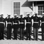 Montford Point Marines pose in their dress blue uniforms, 1943. National Archives, 208-NP-10NN-2.