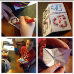 Journey Home School students creating their own cootie catchers to teach their friends about recycling.