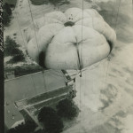 By late in the war, parachutes like this one were all made from nylon. From the collection of the NWWII Museum.