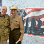 Bert with fellow A-Team member Tom Blakey on Veterans Day in 2013. Bert was the last surviving member of the Museum's original WWII veteran volunteer group.