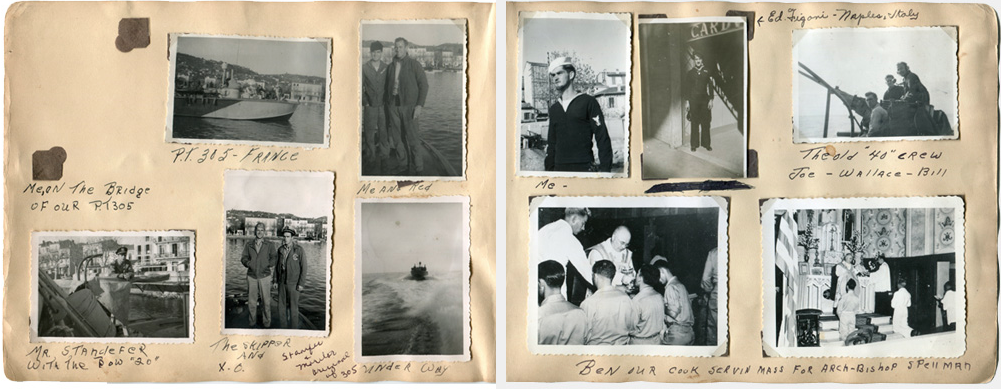 Page of a scrapbook kept by a crew member aboard PT 305. Photos courtesy of NWWII Museum collection.