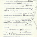 The first draft of President Franklin Delano Roosevelt's address to Congress following the Japanese attack on Pearl Harbor. (Franklin D. Roosevelt Library.)