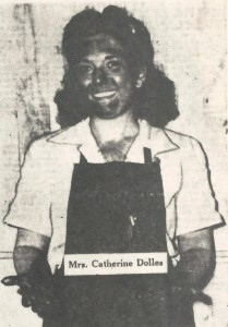 "Catherine Dolles (pictured) served as the ""lead woman in inspection"" on a production line at Higgins Industries' Michoud plant during the final year of World War II. Mrs. Dolles, along with thousands other employees, worked on parts that, unknown to them, were destined for the Manhattan Project—the top-secret drive to build an atomic bomb."
