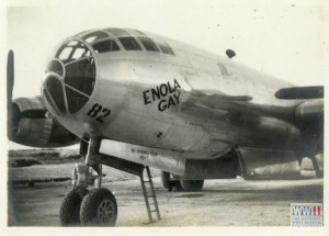 The nose of the Enola Gay, probably on a Tinian airfield in 1945. Gift of David Lawrence, from the collection of The National World War II Museum
