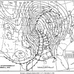 This map shows the winds and fronts around the low pressure system early on November 11, 1940.