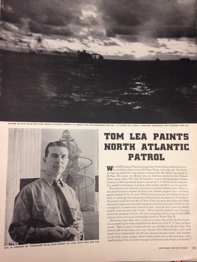 Excerpt from LIFE magazine in 1942 with feature of Tom Lea's sketches from the North Atlantic.