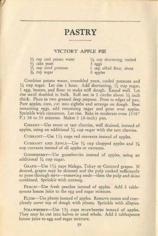 Victory Apple Pie from The Victory Binding of the American Woman's Cook Book: Wartime Edition.