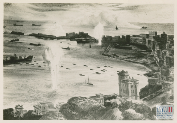 Photograph of an illustration of an invasion of a waterfront town and buildings along the shore line in Italy. 1944-45.