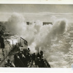 A US patrol boat dropping a depth charge.