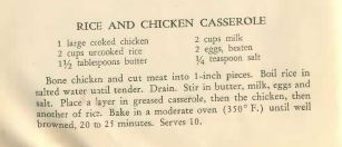 Recipe for the Chicken and Rice Casserole from The Victory Binding of the American Woman's Cook Book: Wartime Edition