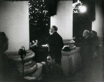 President Roosevelt speaking at the Christmas Tree Lighting in 1941. Photo courtesy of FDR Library Digital Collection.