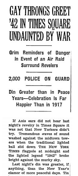 Write-up in the New York Times of the NYE celebration to greet 1942.