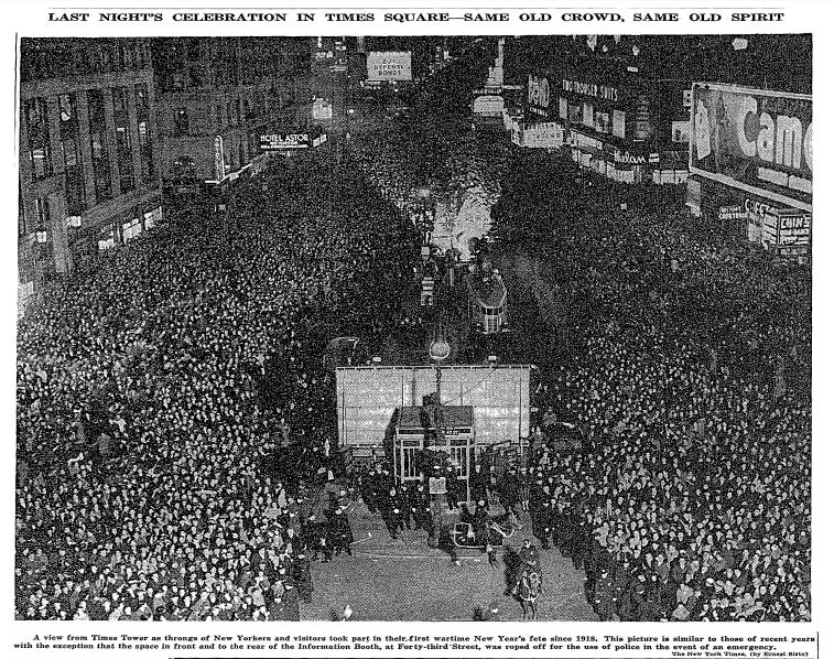 New Year's Eve celebration in Times Square on December 31, 1941. Photo courtesy of the New York Times.