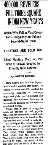 An article in the New York Times published on January 1, 1943. Courtesy of the New York Times.