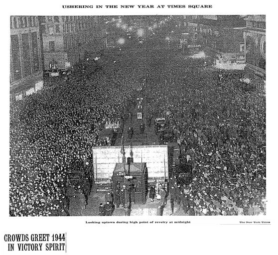 A photo of the crowds in Times Square on December 31, 1943 published in the New York Times.