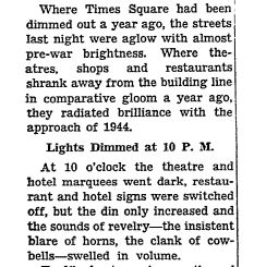A snippet from New York Times article published on January 1, 1944.