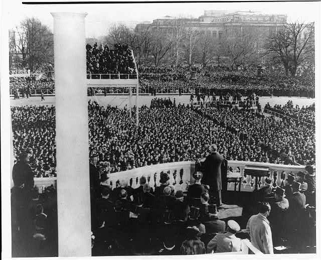 FDR delivering his inaugural address on January 20, 1941. Photo courtesy of the Library of Congress.