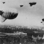 Barrage balloons defending London during WWII.