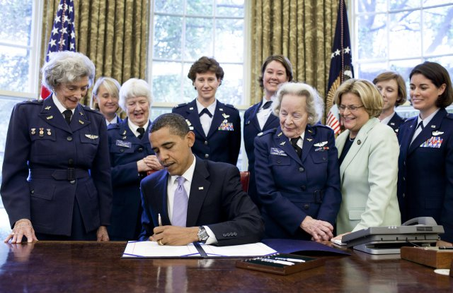 President Obama signing the bill for WASPs to be awarded the Congressional Gold Medal. Photo courtesy of U.S. Army website.