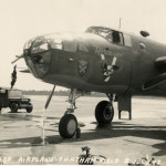The nose glass of this B-25 was broken in training when the plane crashed into a large bird while aloft.